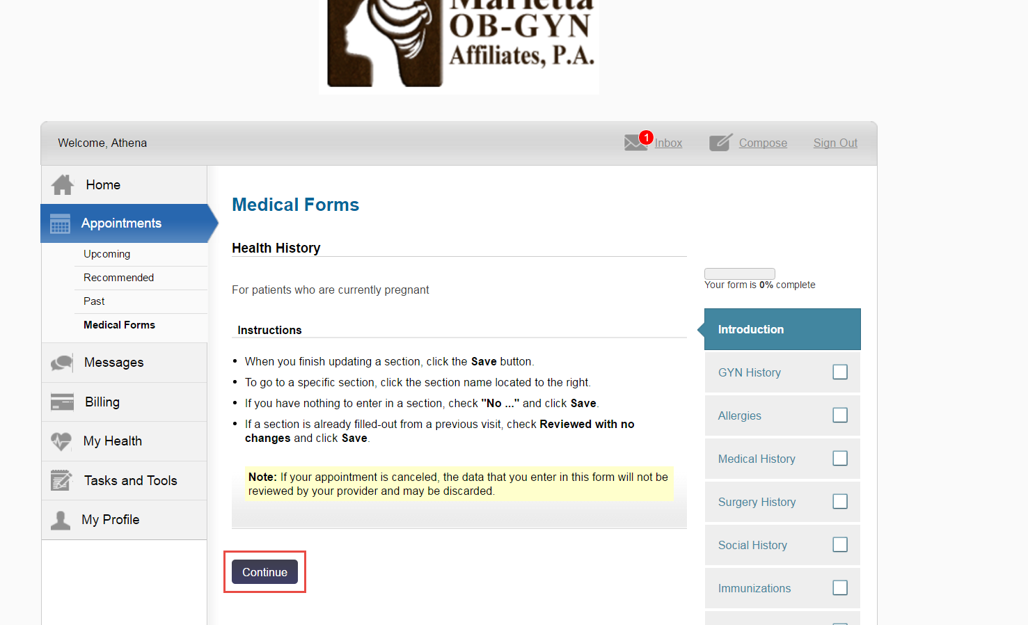 The Patient Portal dashboard. Medical Forms instructions.
