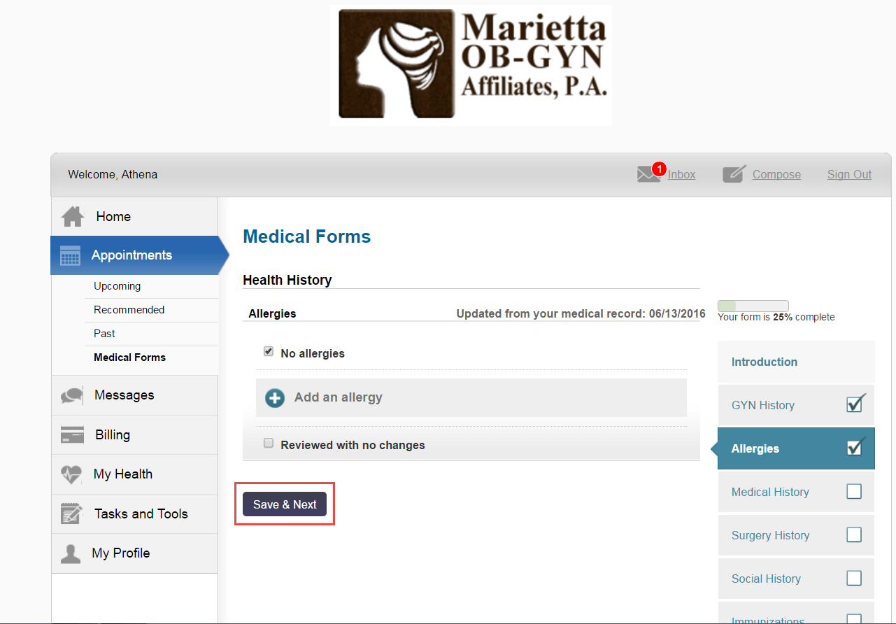 The Patient Portal dashboard. Medical Forms Allergies section.
